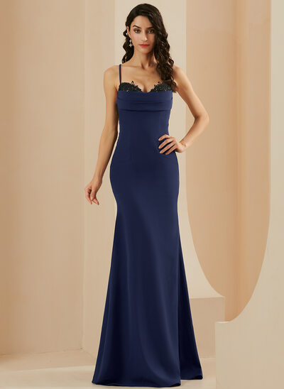 Sheath/Column Floor-Length Stretch Crepe Prom Dresses With Lace