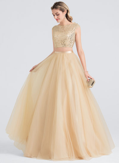 Ball-Gown/Princess Scoop Neck Floor-Length Tulle Prom Dresses