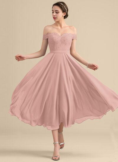 A-Line Off-the-Shoulder Tea-Length Chiffon Lace Bridesmaid Dress