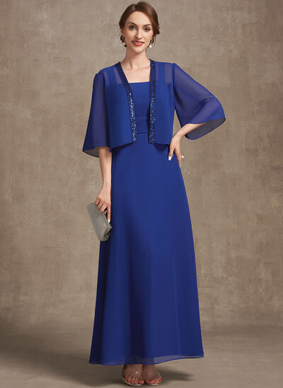 A-Line Square Neckline Ankle-Length Chiffon Mother of the Bride Dress With Ruffle