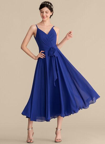 A-Line/Princess V-neck Tea-Length Chiffon Bridesmaid Dress With Ruffle Bow(s)