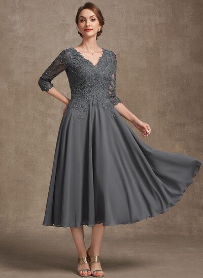 A-Line V-neck Tea-Length Chiffon Lace Evening Dress With Beading Sequins