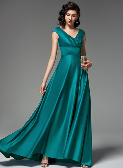 A-Line V-neck Sweep Train silk like satin Evening Dress With Ruffle Split Front