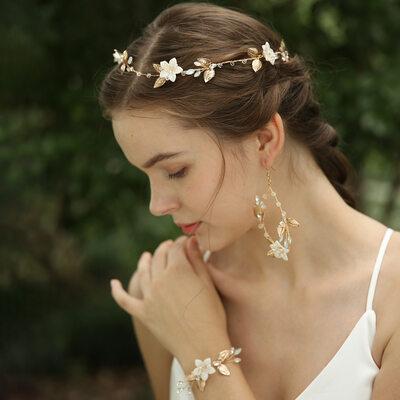 Beautiful Crystal/Rhinestone/Silk Flower/Copper Headbands (Set of 3)