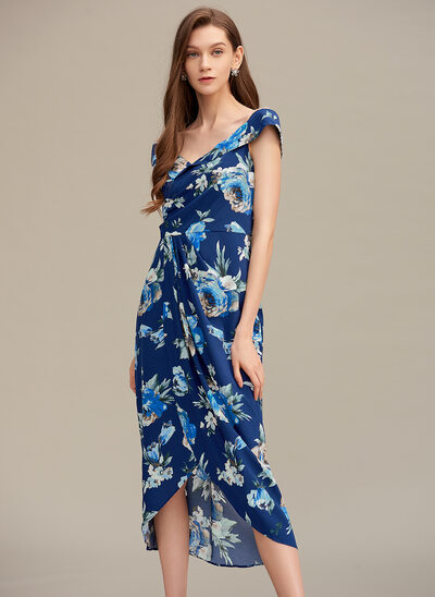 Off-the-Shoulder Asymmetrical Homecoming Dress