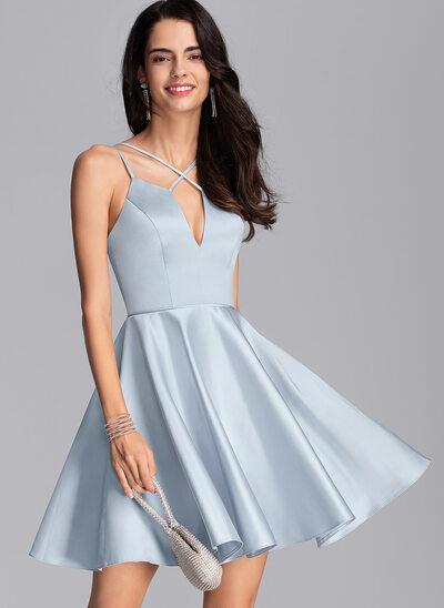 A-Line V-neck Short/Mini Satin Prom Dresses