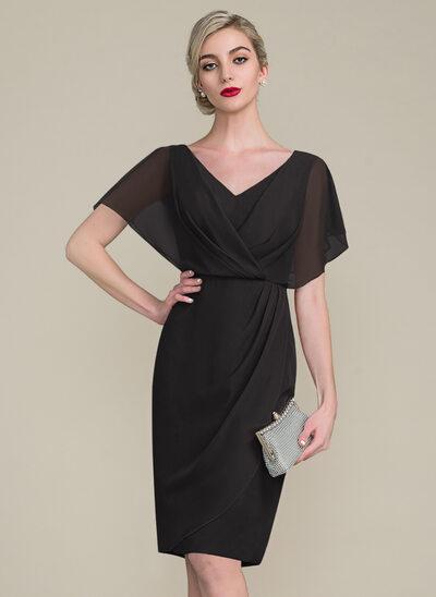Sheath/Column V-neck Knee-Length Chiffon Cocktail Dress With Ruffle