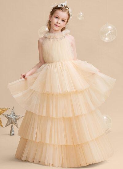 Ball-Gown/Princess Floor-length Flower Girl Dress - Tulle Sleeveless High Neck