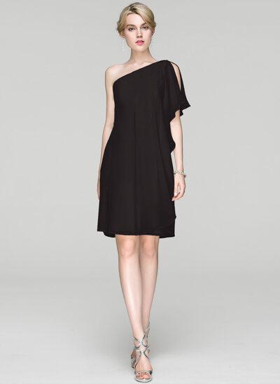 Sheath/Column One-Shoulder Knee-Length Chiffon Cocktail Dress With Ruffle
