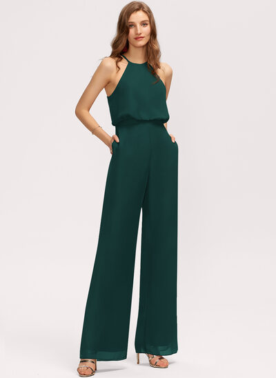 Jumpsuit/Pantsuit Scoop Neck Floor-Length Chiffon Bridesmaid Dress With Pockets