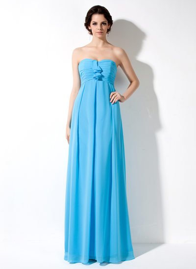 Empire Sweetheart Floor-Length Chiffon Maternity Bridesmaid Dress With Cascading Ruffles