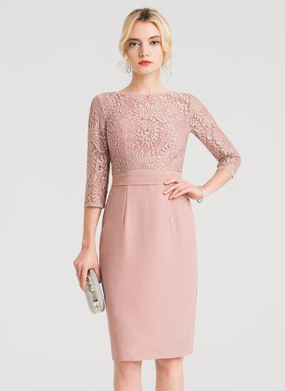 Sheath/Column Sweetheart Knee-Length Chiffon Cocktail Dress