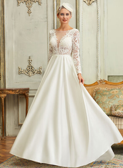 Ball-Gown/Princess Illusion Sweep Train Satin Lace Wedding Dress