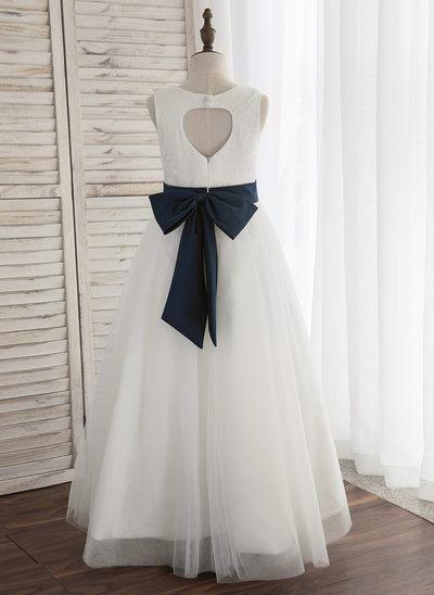 A-Line/Princess Floor-length Flower Girl Dress - Satin/Tulle Sleeveless Scoop Neck With Back Hole (Undetachable sash)