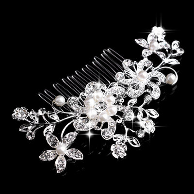 Flower Shaped Rhinestone/Alloy/Imitation Pearls Combs & Barrettes