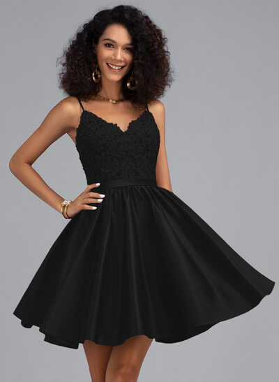 A-Line V-neck Short/Mini Satin Cocktail Dress With Beading Sequins
