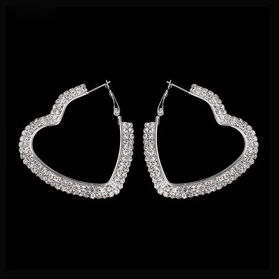 Ladies' Heart Shaped Alloy/Rhinestones Earrings