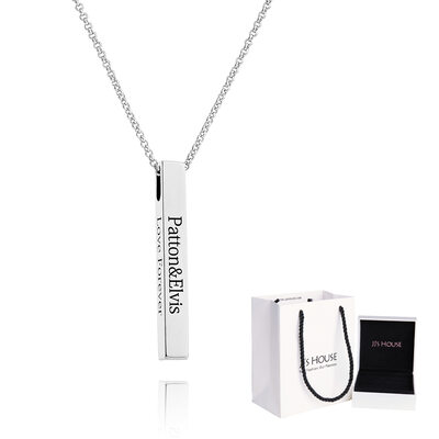 [Free Shipping]Custom Silver 3D Bar Necklace Engraved Necklace - Birthday Gifts Mother's Day Gifts (288219245)