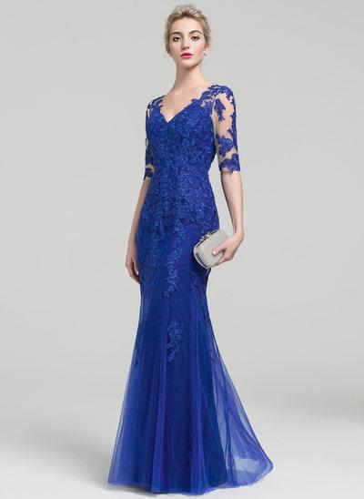 Trumpet/Mermaid V-neck Floor-Length Tulle Lace Evening Dress