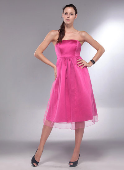 A-Line Strapless Knee-Length Satin Maternity Bridesmaid Dress With Ruffle