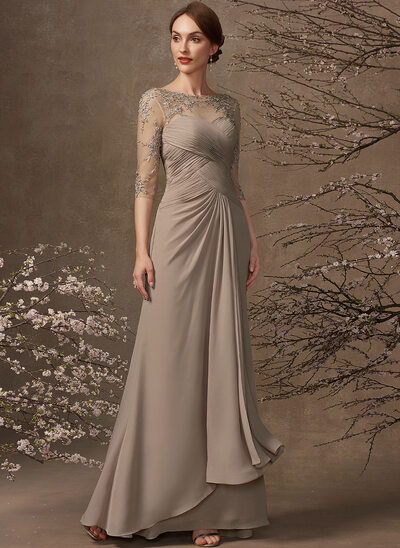 A-Line Scoop Neck Floor-Length Chiffon Lace Mother of the Bride Dress With Ruffle Beading