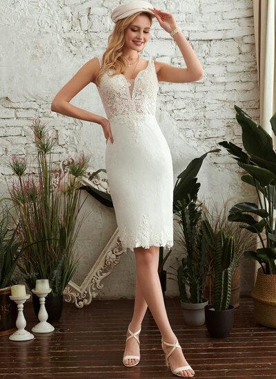 Sheath/Column V-neck Knee-Length Wedding Dress