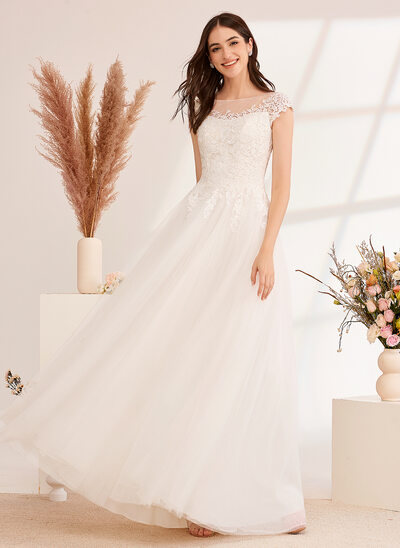 [Free Shipping]Ball-Gown/Princess Illusion Floor-Length Wedding Dress With Lace