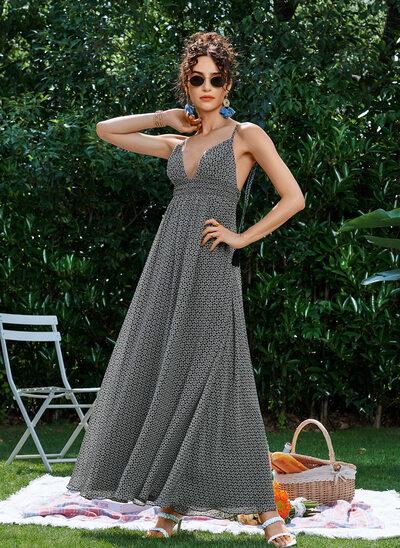 A-Line V-neck Ankle-Length Prom Dresses
