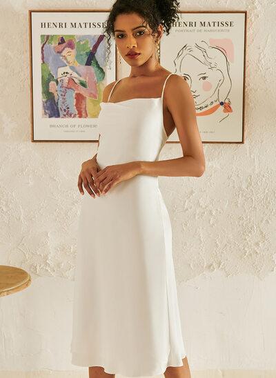 Cowl Neck Knee-Length Wedding Dress