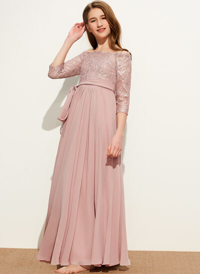A-Line Off-the-Shoulder Floor-Length Chiffon Lace Junior Bridesmaid Dress With Bow(s)