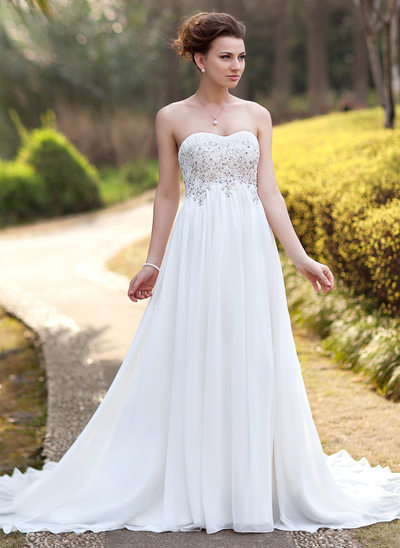 Empire Sweetheart Court Train Chiffon Wedding Dress With Ruffle Lace Beading