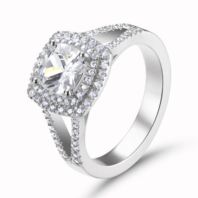 Halo Cushion Cut 925 Silver Engagement Rings