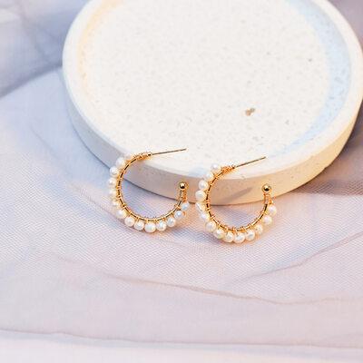 Ladies' Elegant Pearl/Copper Pearl Earrings For Her