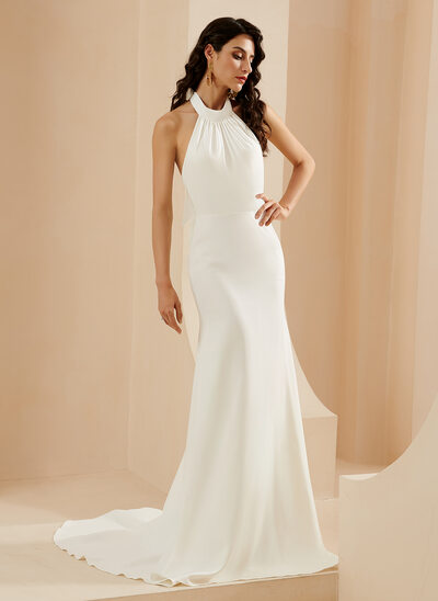 Trumpet/Mermaid Halter Court Train Wedding Dress