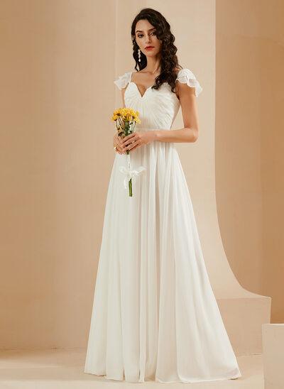A-Line Sweetheart Floor-Length Wedding Dress With Ruffle