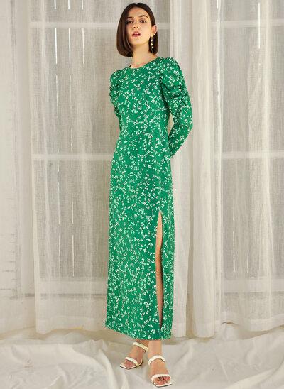 Sheath/Column Scoop Neck Ankle-Length Evening Dress