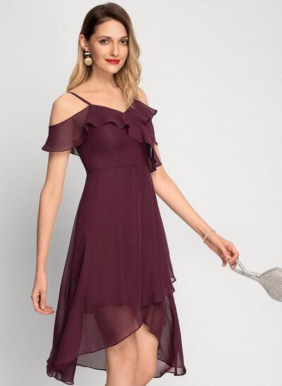 A-Line Off-the-Shoulder Asymmetrical Chiffon Cocktail Dress