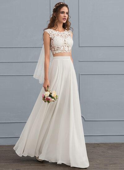 A-Line/Princess Scoop Neck Floor-Length Chiffon Wedding Dress With Beading Sequins