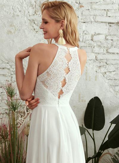 A-Line Scoop Neck Floor-Length Wedding Dress