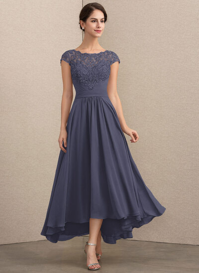 A-Line Scoop Neck Asymmetrical Chiffon Lace Mother of the Bride Dress