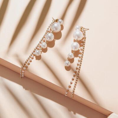 Ladies' Beautiful Alloy Pearl Nrop Earrings Earrings