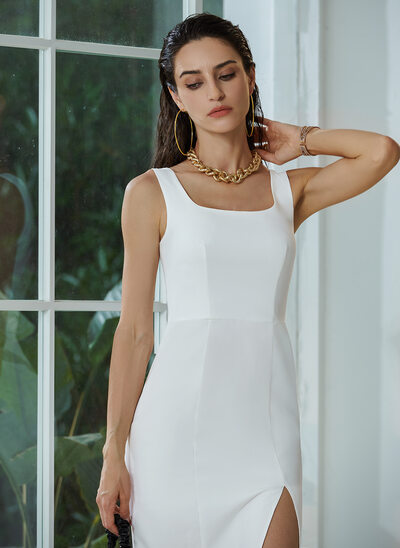 Square Neckline Knee-Length Wedding Dress