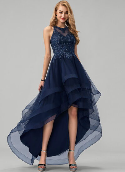 A-Line Scoop Neck Asymmetrical Tulle Prom Dresses With Lace Beading Sequins