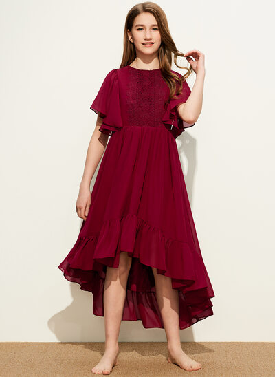 A-Line Scoop Neck Asymmetrical Chiffon Lace Junior Bridesmaid Dress With Cascading Ruffles