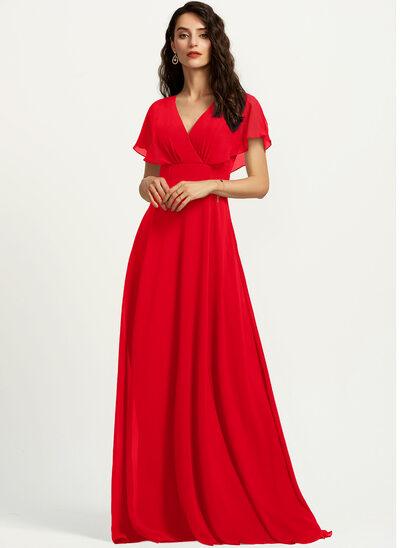 A-Line V-neck Floor-Length Bridesmaid Dress