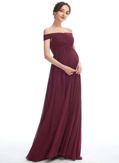 A-line kjole Bare skuldre Gulvlengde Chiffong Brudepikekjole for Gravide med Splittet Front