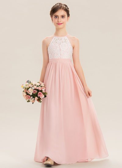 A-Line Floor-length - Chiffon/Lace Sleeveless Scoop Neck