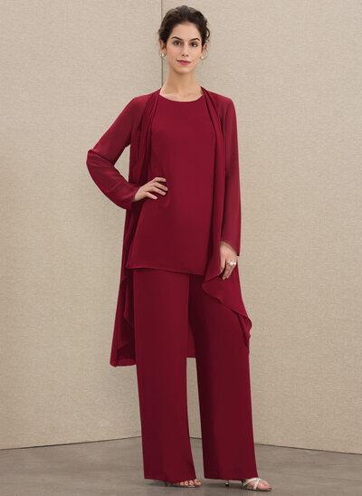 Jumpsuit/Pantsuit Scoop Neck Floor-Length Chiffon Mother of the Bride Dress