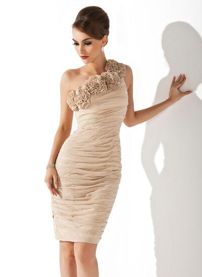 Sheath/Column One-Shoulder Knee-Length Chiffon Cocktail Dress With Ruffle Flower(s)