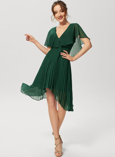 A-Line V-neck Asymmetrical Chiffon Cocktail Dress With Pleated
